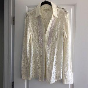 Womens Cream Lace Ruffle Long Sleeve Blouse Medium